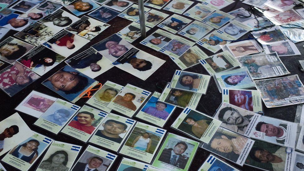 Mothers of the missing migrants place their pictures in a brother of the city of Tapachula, in the south of Mexico