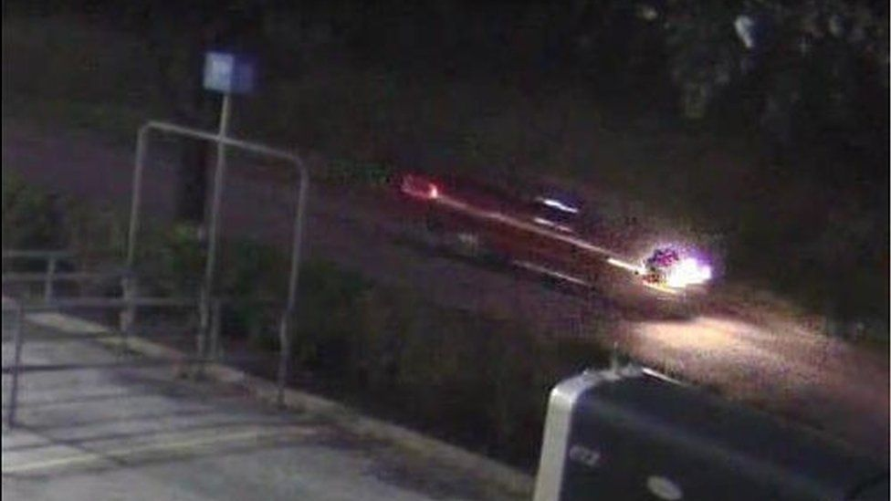 A photo of the red truck police are looking for