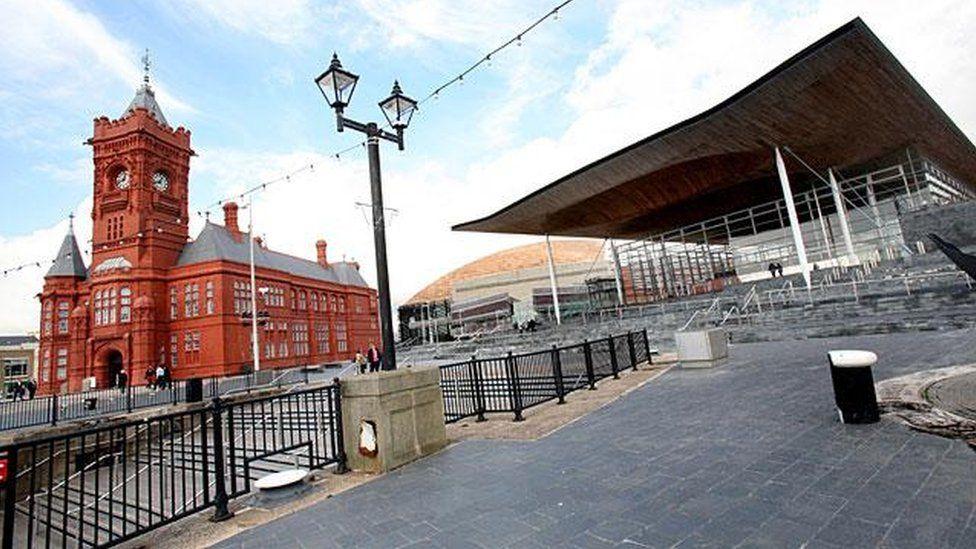 Senedd and Pierhead building in Cardiff Bay