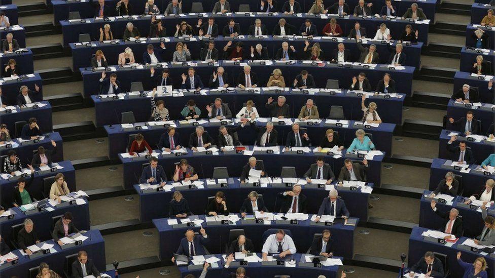 Members of the European Parliament take part in a voting session at the European Parliament in Strasbourg
