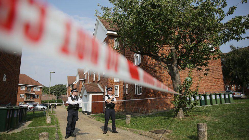 Police cordon outside scene of shooting in East Finchley on 15 September