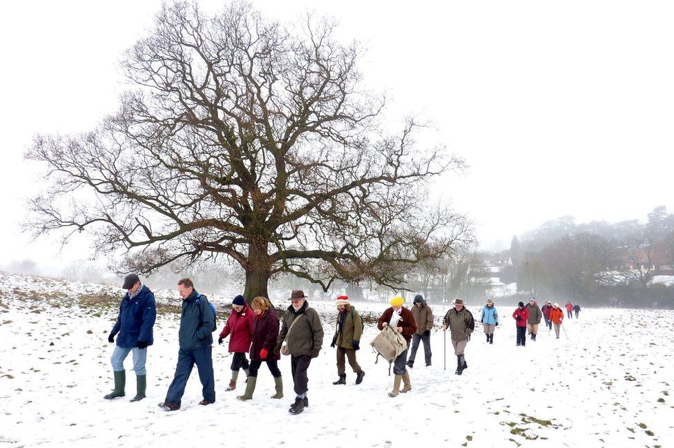 People walking in snow