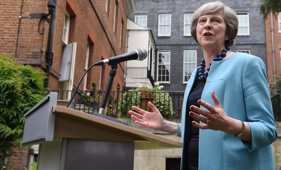 Theresa May giving a speech on 14 July
