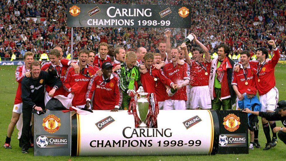 Man Utd celebrating their 1998-99 Premier League title win
