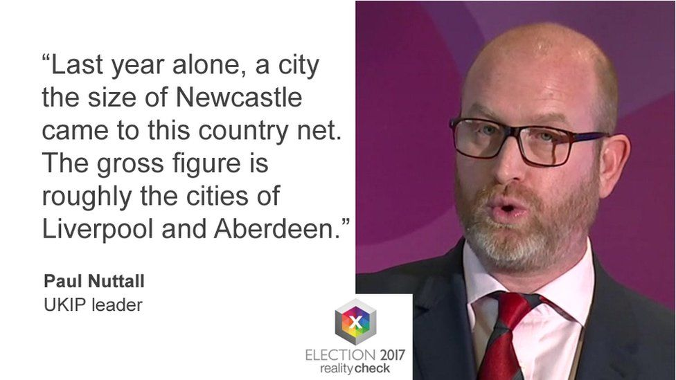 Paul Nuttall saying: Last year alone a city the size of Newcastle came to this country net. The gross figure is roughly the cities of Liverpool and Aberdeen put together