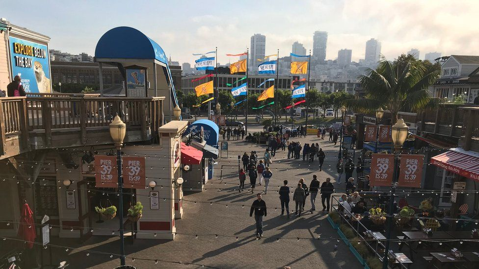 Picture of Pier 39 area with tourists walking around