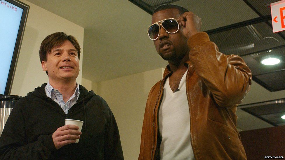 Kanye West with Mike Myers in 2005