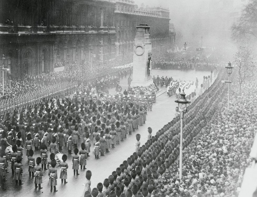 Photo shows a general view of the ceremonies which took place on Armistice Day morning at the London Cenotaph, in Whitehall. 1925