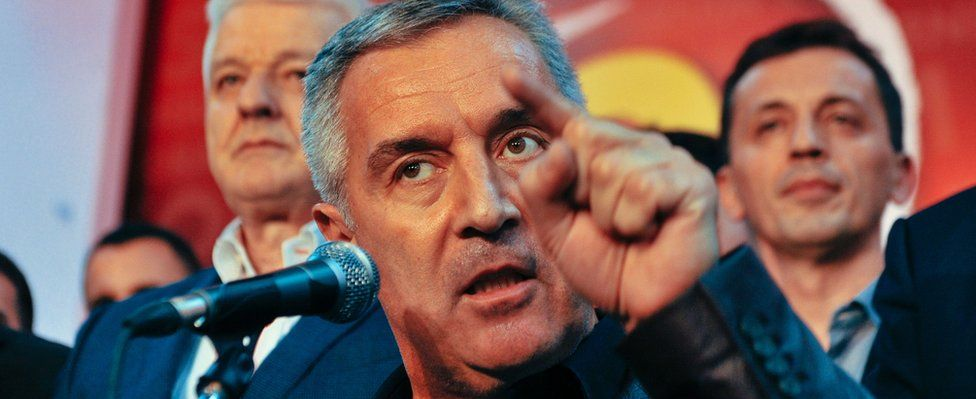 Milo Djukanovic speaks to his supporters after parliamentary elections in Podgorica on October 17 2016