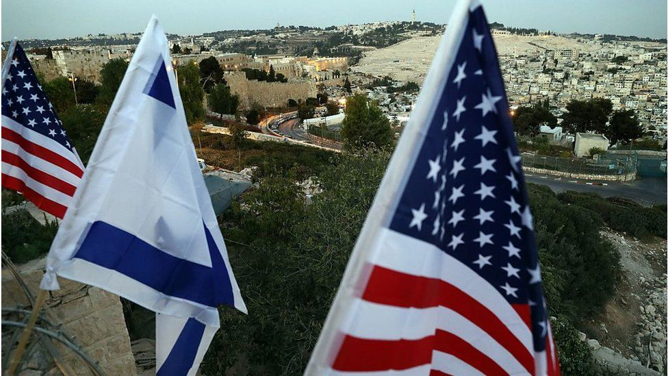 US and Israeli flags in Jerusalem (file photo)