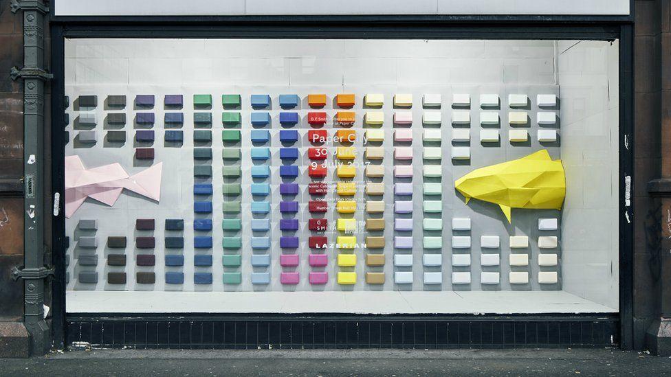 Lazerian's work in Manchester shop window