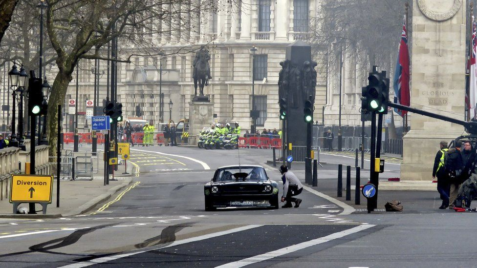 Matt Leblanc takes part in filming for the new BBC Top Gear series near Cenotaph in Whitehall, London, on 13 March 2016