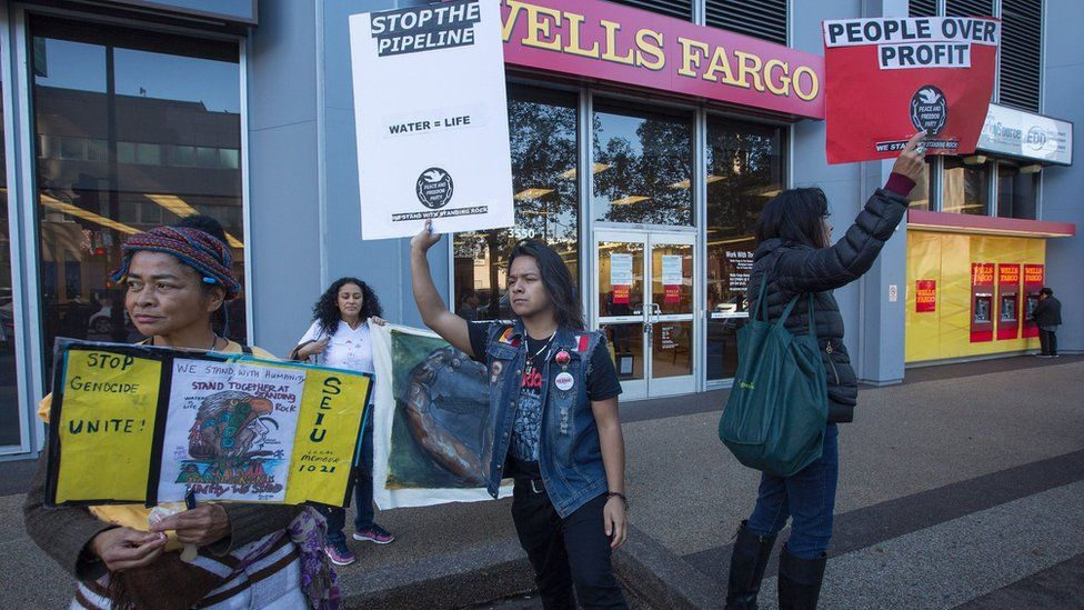 protesters outside of Wells Fargo