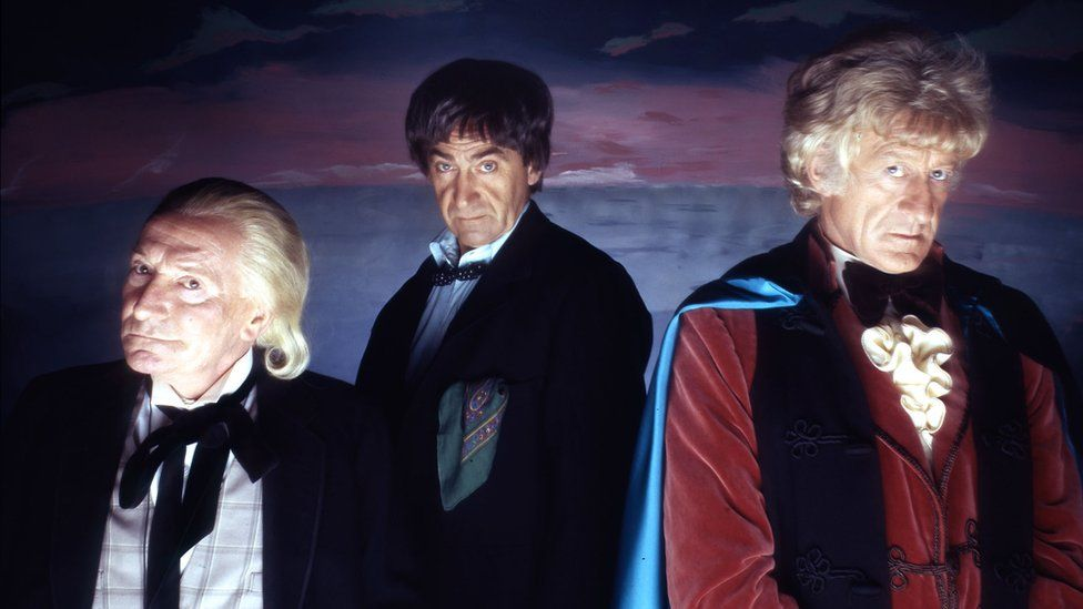 William Hartnell, Patrick Troughton and Jon Pertwee in The Three Doctors