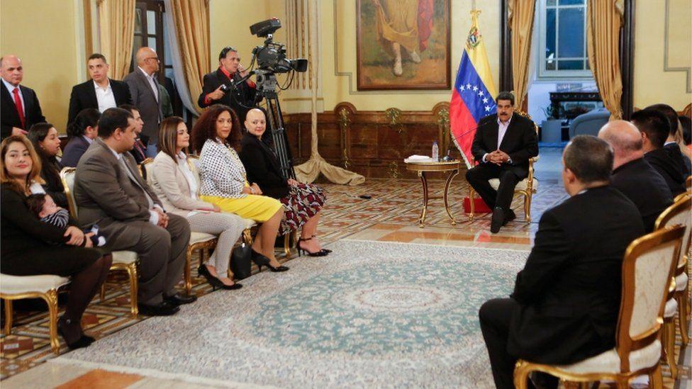 Nicolás Maduro meeting diplomats returned to Venezuela from Washington DC