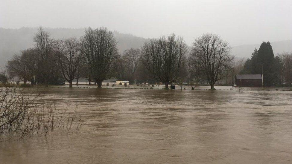 Swollen river in Llanrwst in 2019