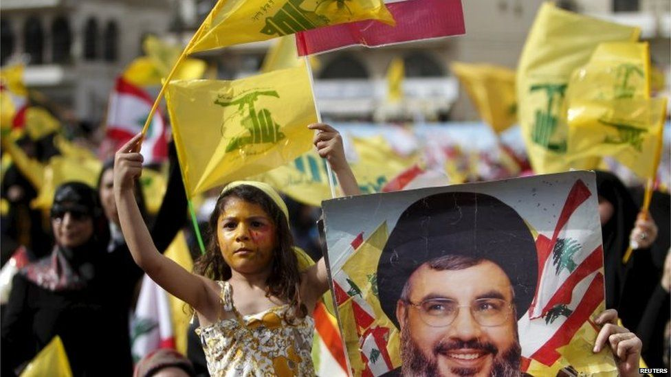 Girl waves Hezbollah flag at a rally in Nabatiyeh (24/05/15)