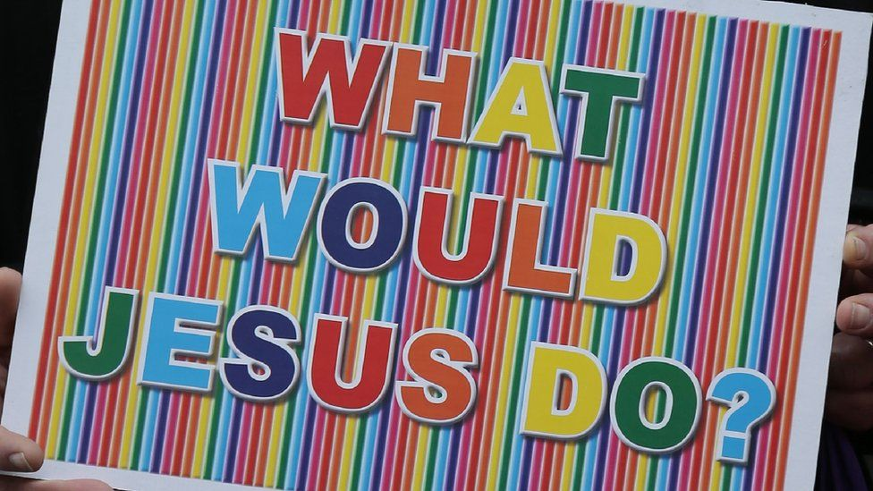 sign reading What would Jesus do