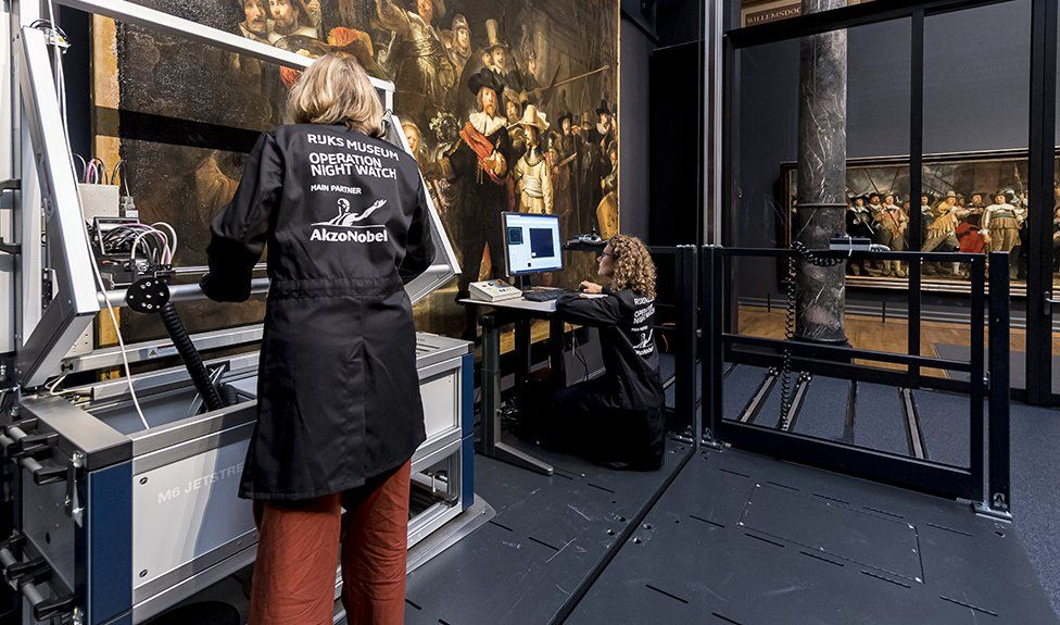 The Rijksmusem's Operation Night Watch team resumed their work this week on the restoration project