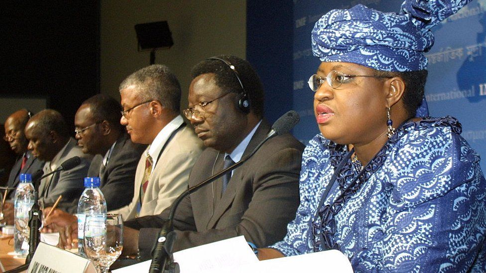Ngozi Okonjo-Iweala at African finance ministers' press briefing in 2003