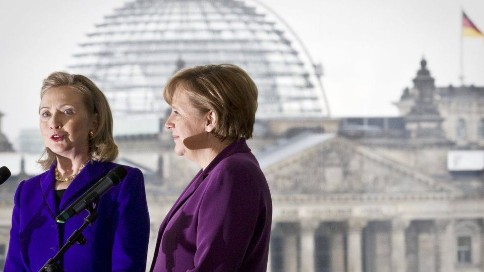 US Secretary of State Hillary Clinton (L) and German Chancellor Angela Merkel address the press after a meeting at the Federal Chancellery in Berlin, on April 14, 2011.
