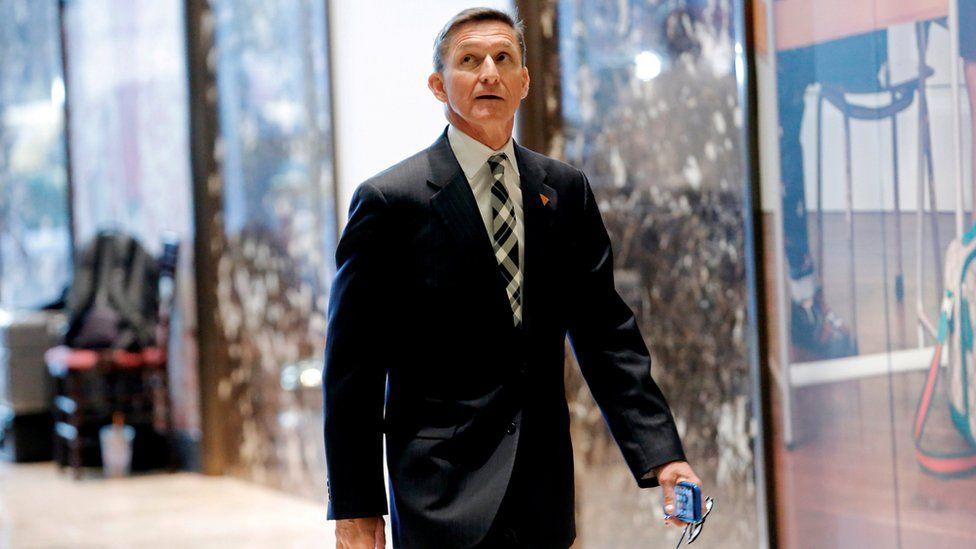 Retired three star general Michael Flynn enters Trump Towers