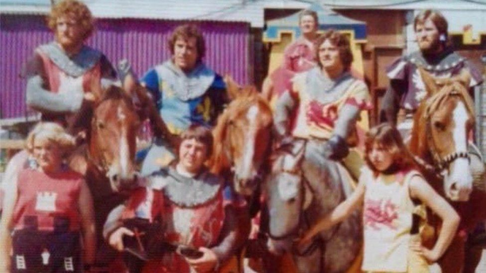 Graham Jones (in blue armour) with the other knights in the 1970s
