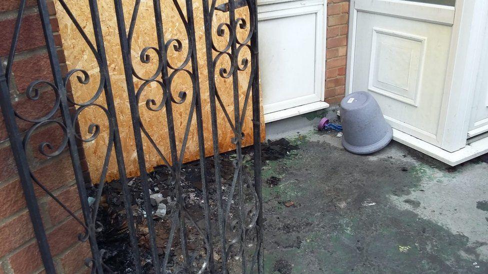Fire debris outside a flat