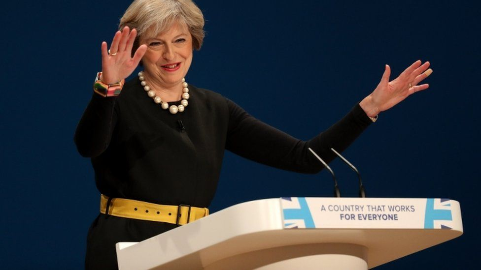 Theresa May, addressing the Conservative Party conference