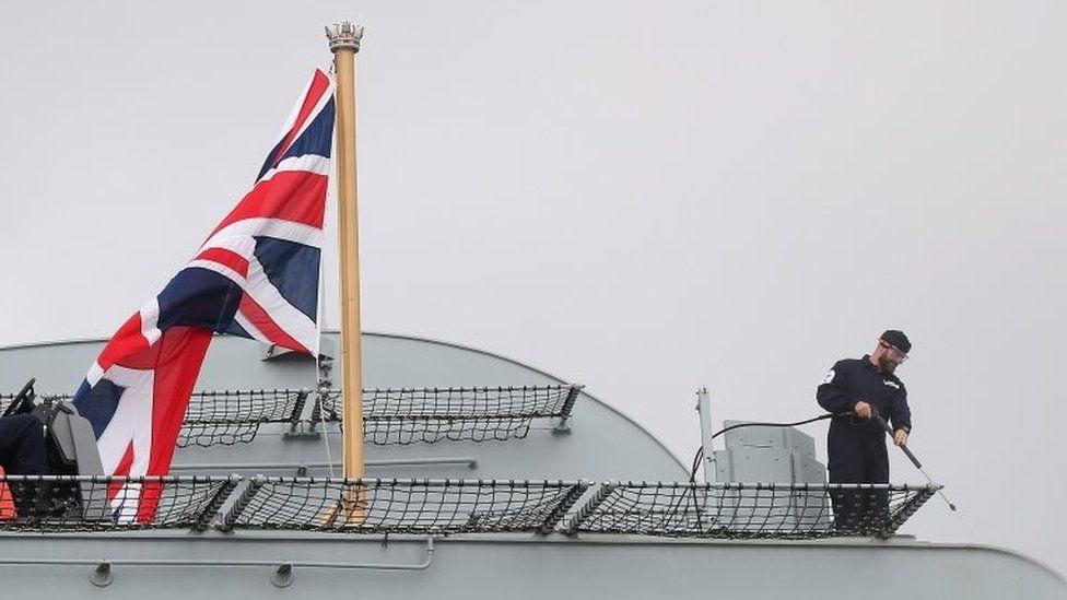 Flag on HMS Queen Elizabeth