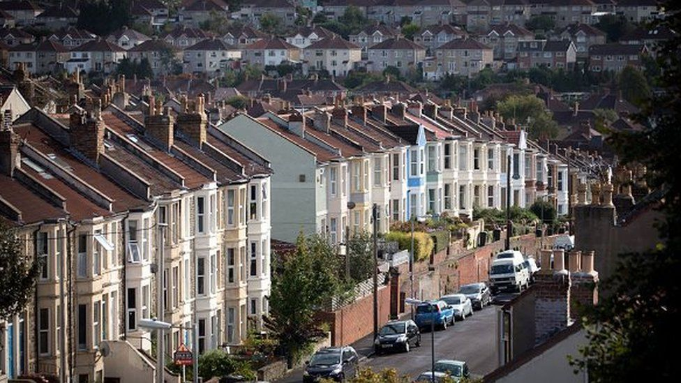 A view of housing in Bristol, England