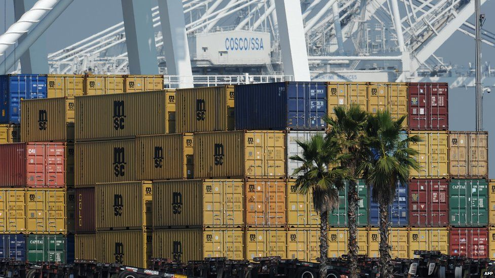 Shipping containers in Los Angeles, California