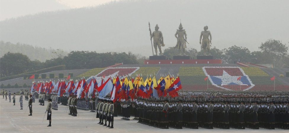 Military parade in Yangon, Myanmar (28 Mar 2018)