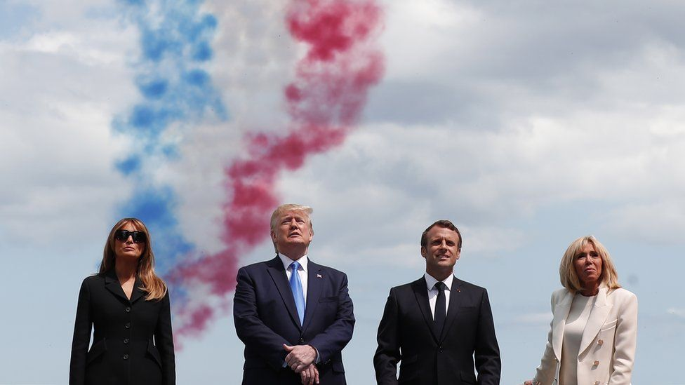 Donald and Melania Trump with Emmanuel and Brigitte Macron commemorating D-Day anniversary