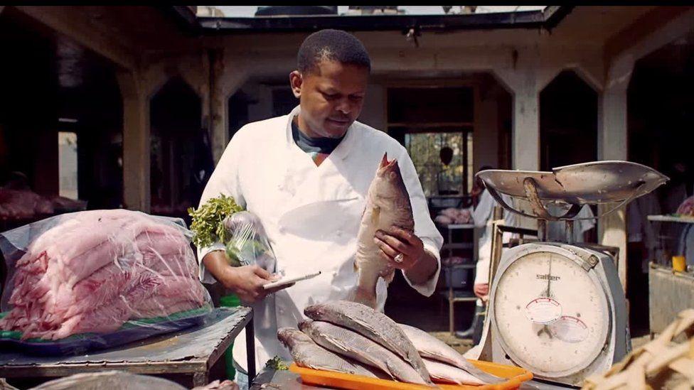Chef buying fish