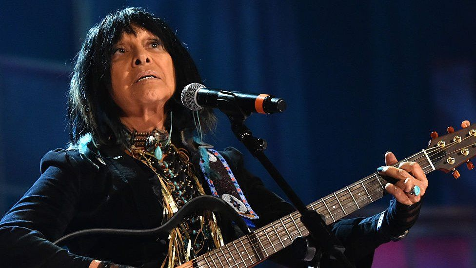 Buffy Sainte-Marie performs onstage at the 14th annual Americana Music Association Honors and Awards Show at the Ryman Auditorium on September 16, 2015 in Nashville, Tennesse