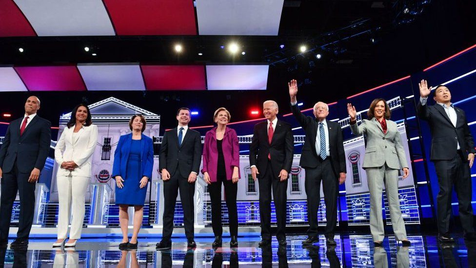 The Democratic presidential hopefuls at the fifth Democratic primary debate