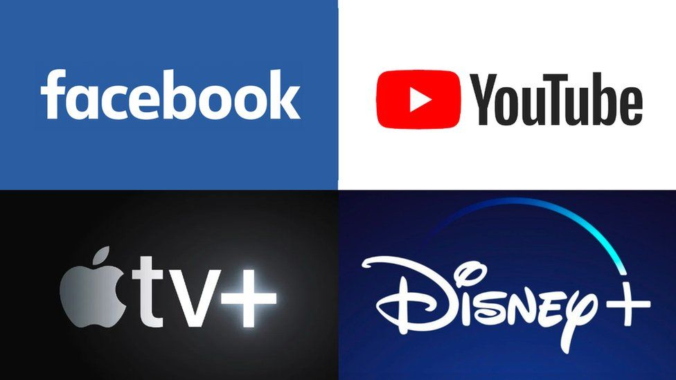 Facebook, YouTube, Apple TV+ and Disney+ logo