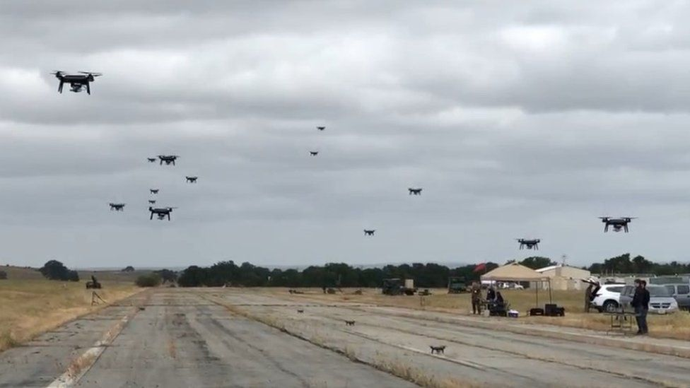 Drones landing on airstrip