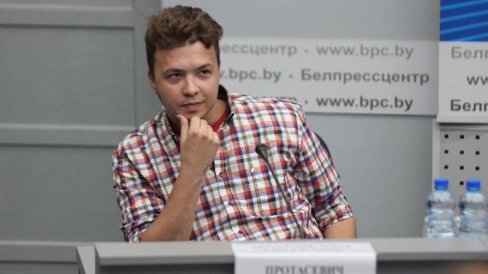 Roman Protasevich at media briefing in Minsk, 14 Jun 21