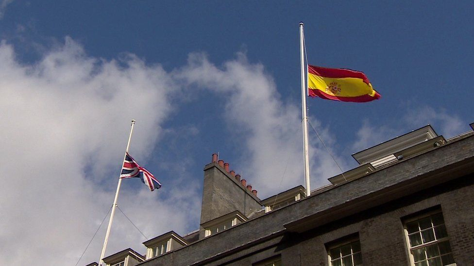 UK and Spanish flags flying at half mast over Downing Street