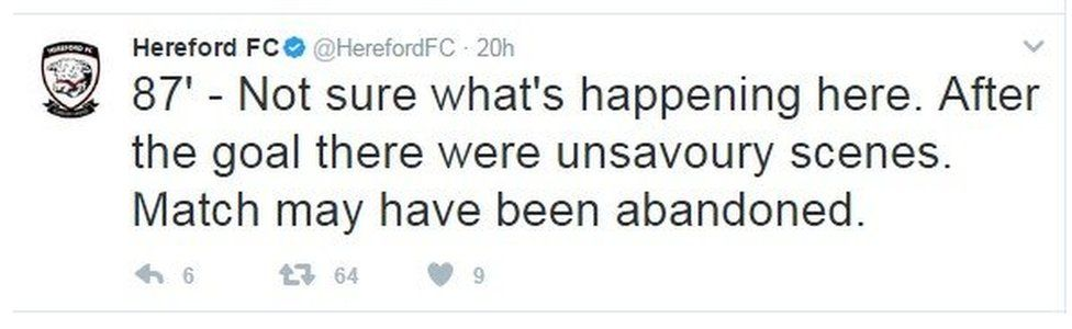 Hereford FC Twitter feed