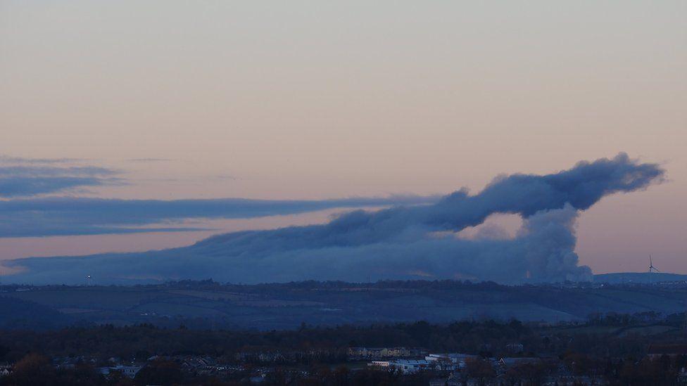 Plumes of smoke at Cork port