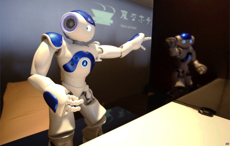 A receptionist robot performs during a demonstration for the media at the new hotel, aptly called Henn na Hotel or Weird Hotel, in Sasebo, southwestern Japan, Wednesday, 15 July 2015
