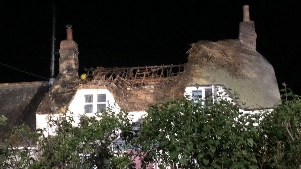 Fire at a thatched cottage in Norden