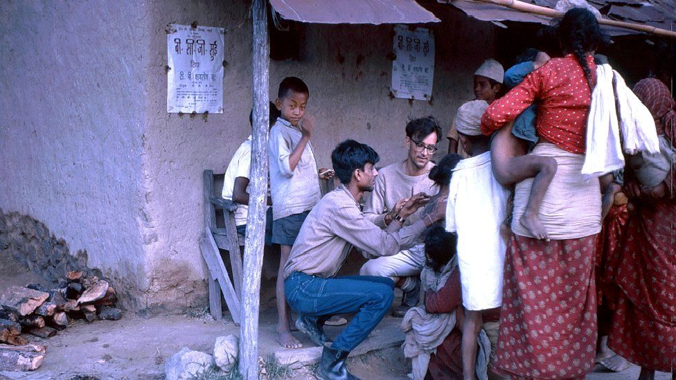 Dr Barney Rosedale at a BCG vaccination programme in a village in Dhankuta district, circa 1970