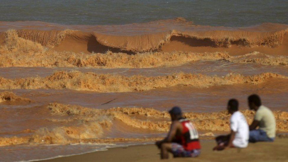 The toxic mud polluted the sea on the Espirito Santo state coast