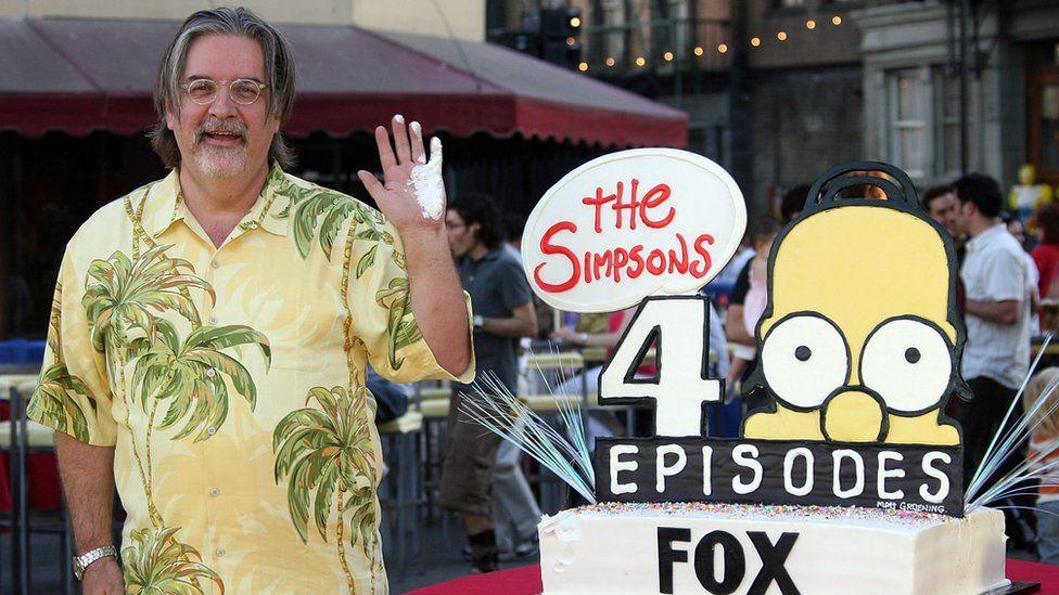 Matt Groening and a Simpsons cake
