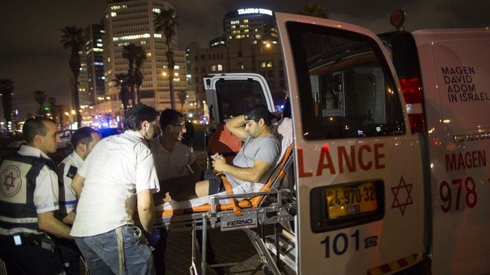 Wounded man evacuated from scene in Jaffa on 8 March 2016