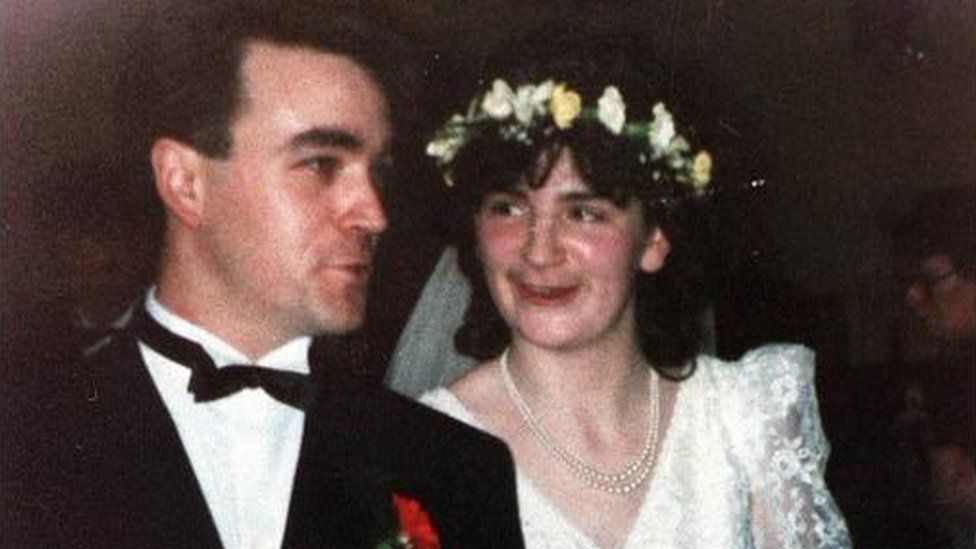 Avril Monaghan with her husband on her wedding day